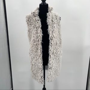 Love Token Faux Fur Longline Vest Sz XS Gray